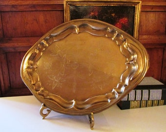 Vintage Brass Tray, Hollywood Regency, Entertaining or Serving Tray, Oval Tray, Bar Tray, Vanity Decor