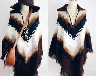 Bohemian Vintage 1970's Chevron Fringed Sweater Poncho