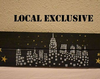 Wooden City and Stars Sign **Local Exclusive