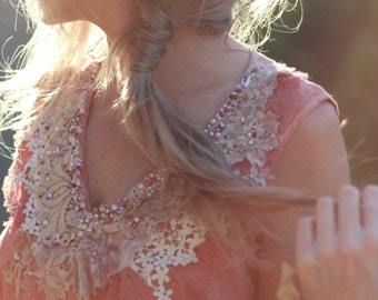 Embroidered dress, Boho dress, Embellished dress, Boho bridesmaid dress, Woodland wedding dress, Beaded dress, Alternative Wedding Unique
