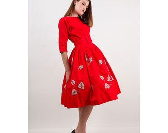 1950s dress / Vintage bright red party dress / Viva Las Vegas S M