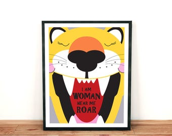 the lioness print - I am woman hear me roar - feminist print, feminism, roaring cat, cat print, art for women, inspirating prints for women