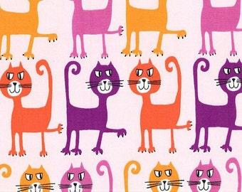 Coral Dancing Cats, Pets a Plenty, from Michael Miller Fabrics, Sorbet