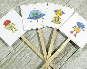 Robot Cupcake Toppers - Set of 12 - Dessert Toppers - Kids Party - Birthday Party- Children's Fund Raiser - Robots - Spaceship - Space Party