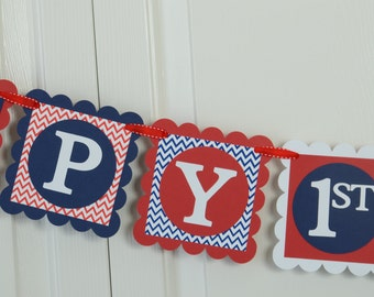 Chevron Happy 1st Birthday Banner, Birthday Party, Chevron Theme, Red and Navy Blue Theme