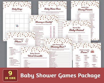 Baby Shower Games Package, Digital Party Games Bundle, Baby Shower Games Set, Rose Gold Burgundy Dots Confetti, Unique Games Pack, SPKG B012