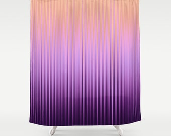Shower Curtain Striped Curtains Solid Lilac Curtain Abstract Curtain Wave Curtain  Violet Curtain Nature Colors 60x72
