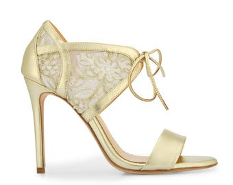 Gold Lace Embroidered Wedding Shoes with Pearl Beading - Handmade and Romantic Bella Belle Grace