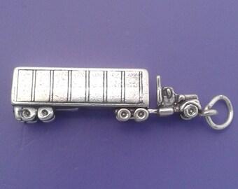 TRACTOR TRAILER Charm .925 Sterling Silver, 18 Wheeler, Truck Driver, Semi, Big Rig Pendant - sc422