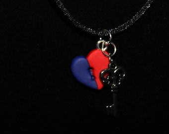 Red and Blue CHD Awareness Key and lock Heart Necklace