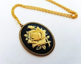 Rose cameo necklace, ivory flower on black in gold setting, vintage inspired style
