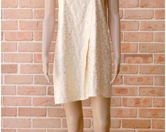 Beige Pleated Print Silk Dress/VH1601DR2001BG