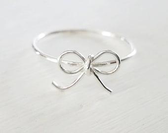 Ribbon Ring Silver Bowtie Ring
