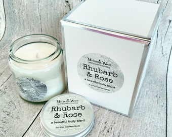 Rhubarb and Rose Highly Scented Natural Soy Wax Handmade in Scotland Gift Boxed Glass Candle 30+ hours