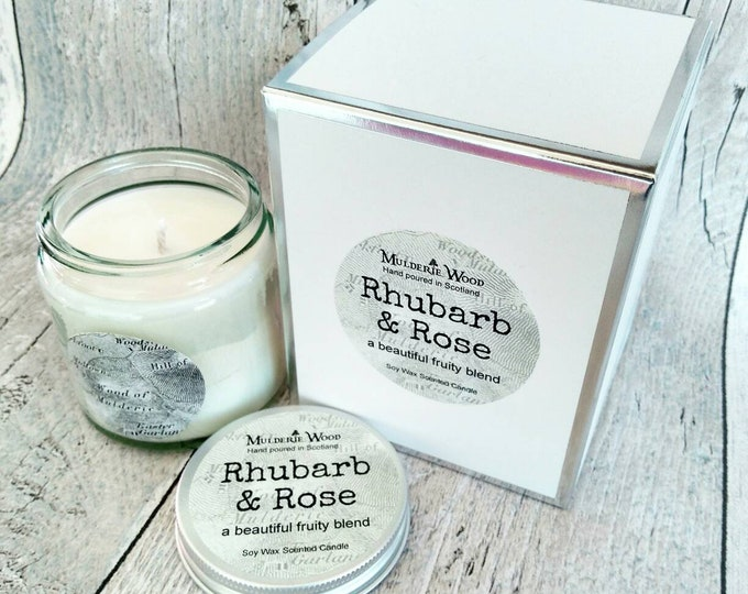 Featured listing image: Rhubarb and Rose Highly Scented Natural Soy Wax Handmade in Scotland Gift Boxed Glass Candle 30+ hours