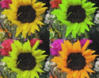 Sunflower Pop Art Photo Manipulation Digital Download