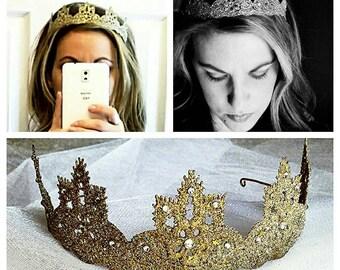 Tiara, gold, princess, adorned with crystals