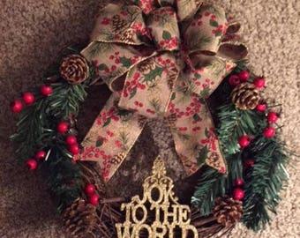 "Christmas Wreath, Grapevine ""Joy to the World"" Holiday Wreath,"