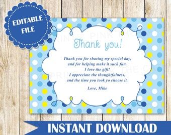 Hot pink stripes thank you card note kids birthday party blue yellow polka dots thank you card note boy birthday baby shower baby sprinkle greeting bookmarktalkfo Image collections