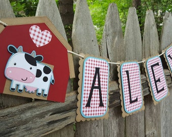 Farm Birthday Banner, Barnyard Animals Banner