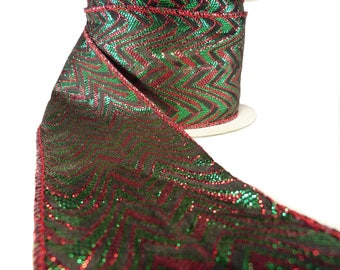"""Red And Green Sparkling Flamestitch Lame Wired Ribbon  2.5"""" Wide"""