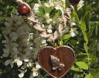 Prayer Hands Beaded Hemp Necklace