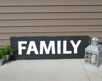 Family Sign, Large, Hand Painted, Wooden Sign, with Distessing