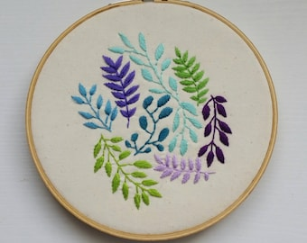 Colorful Botanical 6 inch Embroidery Hoop Art, Hand-Stitched