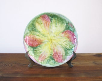 Vintage Majolica Plate with Flower Design Peasant Village Italy 06565