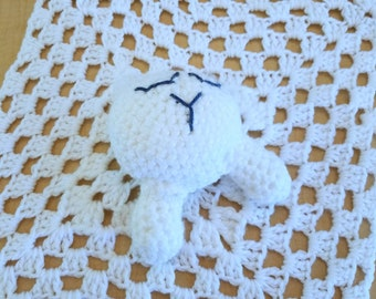 Lamb Lovey Blanket - Crochet Animal Lovey - Lamb Lovey - Baby Snuggle Blanket - Baby Shower Gift - Lovey Blanket - Lamb Snuggle Blanket -