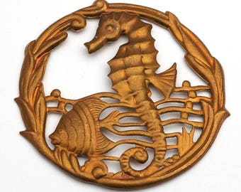 Large vintage brass seahorse stamping, underwater scene with fish, round seaweed frame 52mm