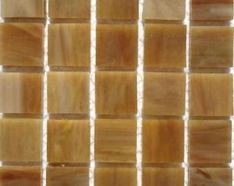 "20mm (3/4"") Butterscotch Carmel TIFFANY Stained Glass Mosaic Tiles//Machine Cut Tiles//Mosaic Pieces//Mosaic Supplies Crafts"