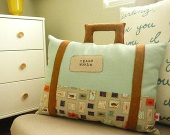Suitcase Pillow - Travel Theme - Hello World -  Decorative Pillow - Nursery