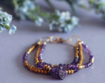 Unique Amethyst bracelet, boho wedding jewelry, anniversary gift her, grecian bridal jewelry, February birthstone jewelry