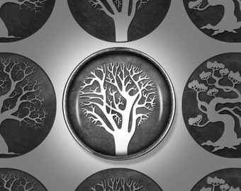 Digital Download - Chalkboard Tree of Life - 1 inch (25mm) Round Printable images for bottlecap jewellery, pendants, and magnets