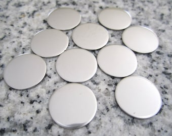 "1/2"" (13MM) Round Disc Stamping Blanks, 22g Stainless Steel - AWESOME Silver Alternative R04"