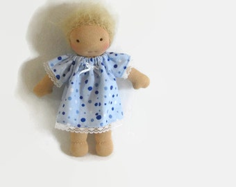 7 to 8 inch Waldorf doll blue dots cotton flannel nightgown, Waldorf doll clothes, tiny doll nightgown, handmade doll clothing