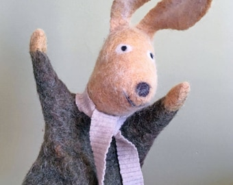 Eco Friendly Rabbit hand puppet, naturally dyed wool felt, nursery and home decor, soft art toy, soft sculpture