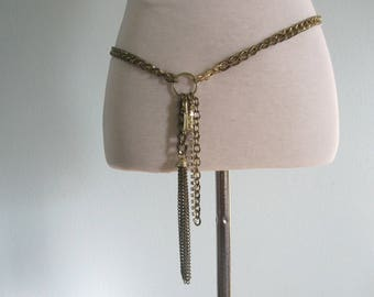 Gold Chain Belt - Fabulous 80s Chain Belt with Lock and Key Charms - Vintage Gold Chain Belt or Necklace - Vintage 1980s Belt