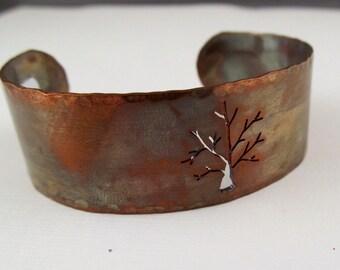 Stammbaum-Armband - Baum-Schmuck - Armspange aus Kupfer - Stammbaum