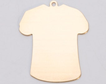 Brass Large T-Shirt 32.5mm x 27mm 24ga PKG of 6