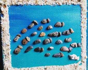 Sea picture with frame of grains of stone Cilento