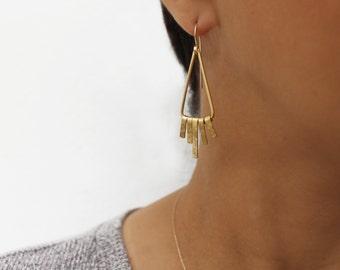 Dangle fringe earrings Triangle dangle earrings Gold hammered earrings Bohemian gold Earrings Gold fringe earrings