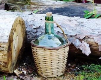 Vintage Demi John Green Wine Bottle in Wicker