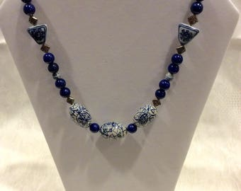 FREE SHIPPING, Chinese Blue and White Porcelain Beads Necklace / 18 inches