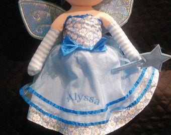 "Personalized Rag Dolls - Blue Fairy - 21"" tall -  Will embroider name or special message - Customize your doll"