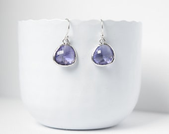Tanzanite earrings silver and rhodium plated, Earrings Purple glass earrings, Dangling earrings, Summer earrings, Wedding Earrings, Gift