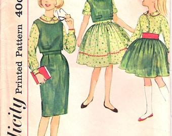 Dos bouton en haut la simplicité 3571 fille. Bouton avant Blouse, jupe droite, patron de couture jupe froncée taille 10 années 1960