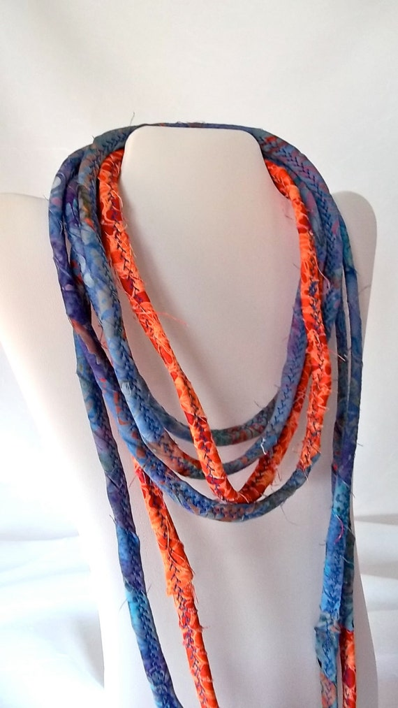 Fall Rope Necklace, Infinity Fabric Necklace, Handmade Autumn Fabric Scarf, O100, Fall Corded Quilted Necklace, Hand Wrapped