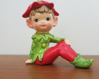 Vintage Porcelain Red Green Pixie Elf Figurine
